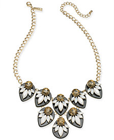 "I.N.C. Gold-Tone Multi-Stone Statement Necklace, 18"" + 3"" extender, Created for Macy's"
