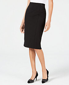 Alfani Faux-Leather-Trim Midi Skirt, Created for Macy's