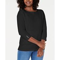 Deals on Karen Scott Womens Petite Cotton Pointelle Sweater