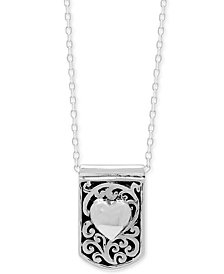 "Lois Hill Heart Dog Tag 16"" Pendant Necklace in Sterling Silver"
