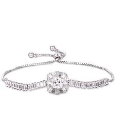 Cubic Zirconia Baguette Bolo Bracelet in Sterling Silver