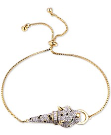 Cubic Zirconia Wild Cat Bolo Bracelet in 14k Gold-Plated Sterling Silver