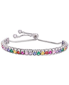 Multi-Color Cubic Zironia Statement Bracelet in Sterling Silver