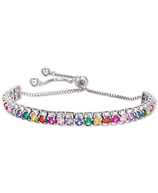 Tiara Multi-Color Cubic Zironia Statement Bracelet in Sterling Silver