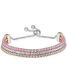 Cubic Zirconia Three Row Bolo Bracelet in Sterling Silver & Gold- and Rose Gold-Plate