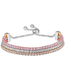 Tiara Cubic Zirconia Three Row Bolo Bracelet in Sterling Silver & Gold- and Rose Gold-Plate