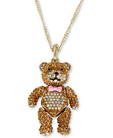 "Betsey Johnson Gold-Tone Crystal Teddy Bear Pendant Necklace, 31"" + 3"" extender"