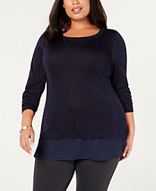 Belldini Black Label Plus Size Chiffon-Hem Metallic Sweater