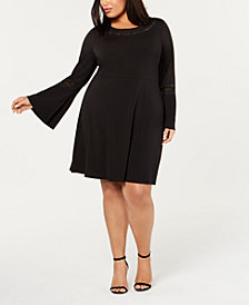 Belldini Plus Size Rhinestone-Trim Fit & Flare Dress