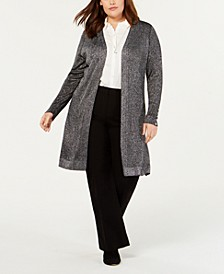 Black Label Plus Size Long Metallic Cardigan