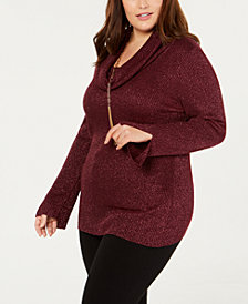 Belldini Plus Size Metallic Cowlneck Sweater