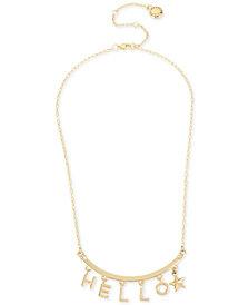 """BCBG Gold-Tone Hello Collar Necklace, 16"""" + 3"""" extender"""
