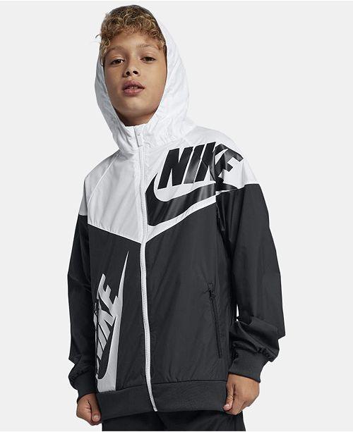 25177357b7978 ... Nike Big Boys Hooded Sportswear Windrunner Colorblocked Jacket ...