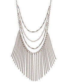"Lucky Brand Silver-Tone Layered Chain Fringe Statement Necklace, 17"" + 3"" extender"