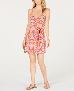 Roxy JUNIORS' FLORAL-PRINT WRAP DRESS