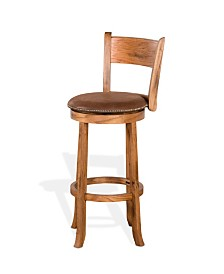 "Sedona 30""H Rustic Oak Swivel Barstool, Cushion Seat"