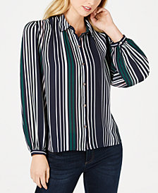 CeCe Striped Button-Down Blouse