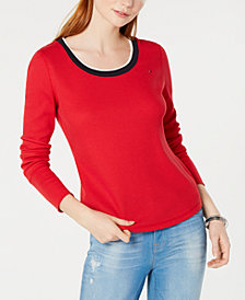 Tommy Hilfiger Long-Sleeve Waffle-Knit Top, Created for Macy's