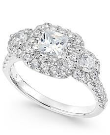 Triple Cluster Princess Engagement Ring (1-1/3 ct. t.w.) in 14k White Gold