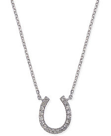 "Diamond Horseshoe 17"" Pendant Necklace (1/10 ct. t.w.) in 14k White Gold"