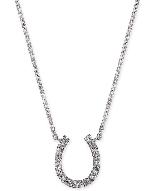 "Macy's Diamond Horseshoe 17"" Pendant Necklace (1/10 ct. t.w.) in 14k White Gold"