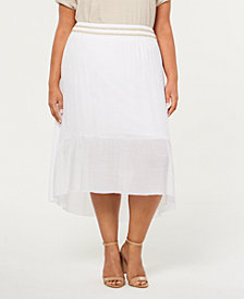 JM Collection Plus Size Lined Gauze High-Low Skirt, Created for Macy's