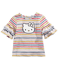 Hello Kitty Little Girls Ruffle-Sleeve Striped Top