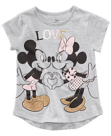Disney Little Girls Mickey & Minnie Mouse Love T-Shirt