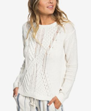 ROXY Glimpse Of Romance Cable Knit Sweater in Marshmallow