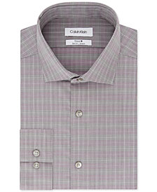 Calvin Klein Men's Steel Slim-Fit Performance Stretch Moisture-Wicking Non-Iron Plaid Dress Shirt