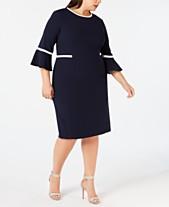 748994773b1c Calvin Klein Plus Size Bell-Sleeve Sheath Dress