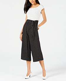 Maison Jules Polka-Dot Wide-Leg Jumpsuit, Created for Macy's