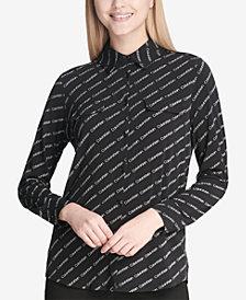 Calvin Klein Logo-Print Button-Front Shirt