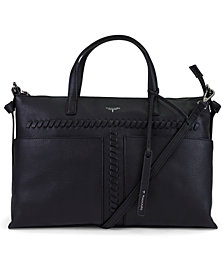 T Tahari Skyler Leather Whipstitch Satchel