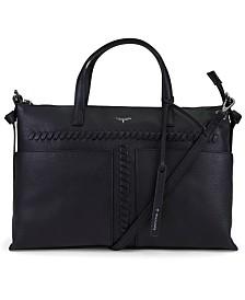 T Tahari Skyler Leather Whipstitch Satchel