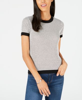 Honeycomb Short-Sleeve Sweater, Created for Macy's