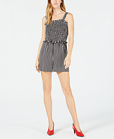 Maison Jules Striped Smocked Romper, Created for Macy's