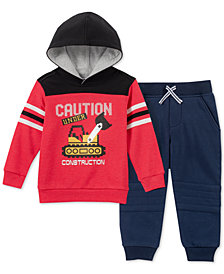 Kids Headquarters Little Boys 2-Pc. Construction Graphic Fleece Hoodie & Jogger Pants Set