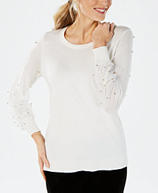 JM Collection Beaded-Sleeve Sweater, Created for Macy's
