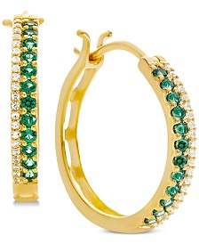 Emerald (1/2 ct. t.w.) & Diamond (1/8 ct. t.w.) Hoop Earrings (Also in Sapphire & Certified Ruby)