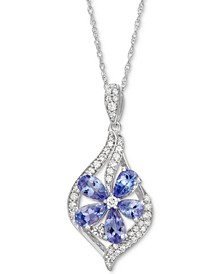 "Sapphire (1-3/8 ct. t.w.) & Diamond (1/5 ct. t.w.) Floral 18"" Pendant Necklace (Also in Tanzanite, Certified Ruby & Emerald)"