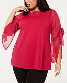 Belldini Plus Size Bowed Split-Sleeve Tunic Top