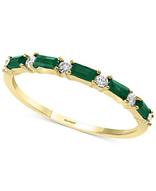 EFFY® Emerald (1/3 ct. t.w.) & Diamond (1/8 ct. t.w.) Band in 14k Gold
