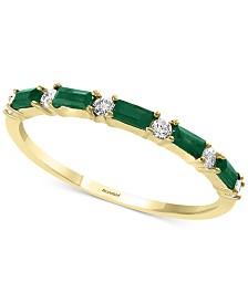 EFFY® Emerald (1/3 ct. t.w.) & Diamond (1/8 ct. t.w.) Band in 14k Gold