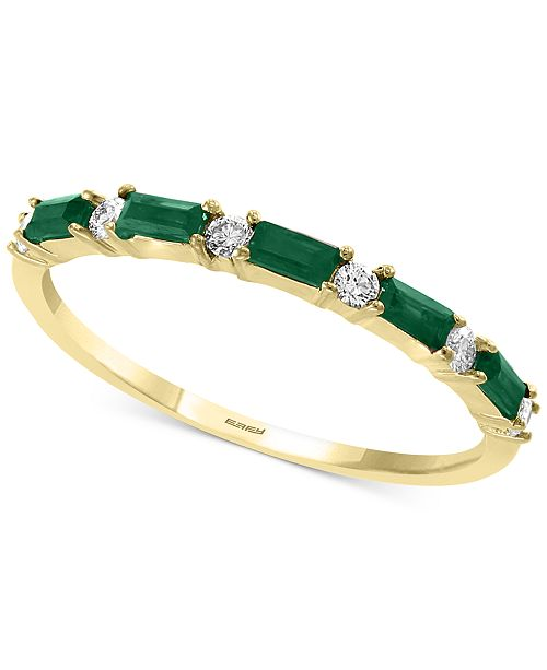 EFFY Collection EFFY® Emerald (1/3 ct. t.w.) & Diamond (1/8 ct. t.w.) Band in 14k Gold