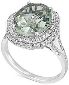 Green Amethyst (4 ct. t.w.) & White Topaz (1/2 ct. t.w) Double Halo Ring in Sterling Silver