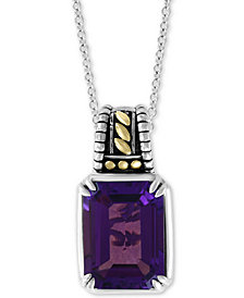 "EFFY® Amethyst 18"" Pendant Necklace (11-1/3 ct. t.w.) in Sterling Silver & 18k Gold"