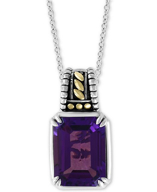 "EFFY Collection EFFY® Amethyst 18"" Pendant Necklace (11-1/3 ct. t.w.) in Sterling Silver & 18k Gold"