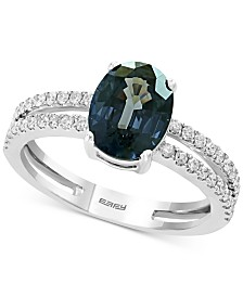 EFFY® Gray Spinel (2-1/3 ct. t.w.) & Diamond (1/4 ct. t.w.) Double Row Ring in 14k White Gold
