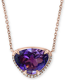 "EFFY® Amethyst (3-1/10 ct. t.w.) & Diamond Accent 18"" Pendant Necklace in 14k Rose Gold"